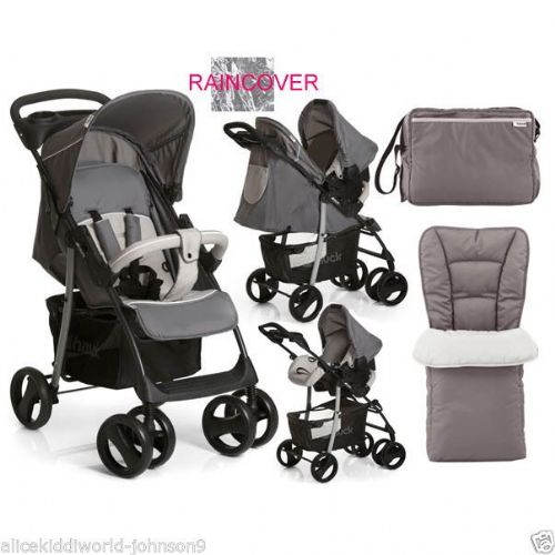 Hauck Shopper SLX Shop n Drive Travel System (Stone/Grey) Complete with Footmuff, Changing Bag & Raincover